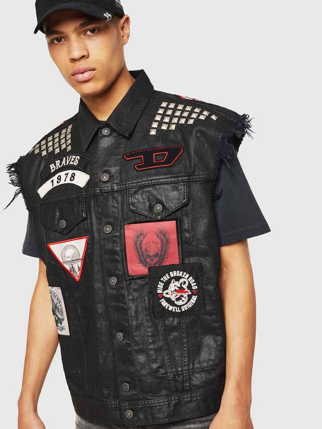 Diesel - PS-D-VINNY, Black - Denim Jackets - Image 1