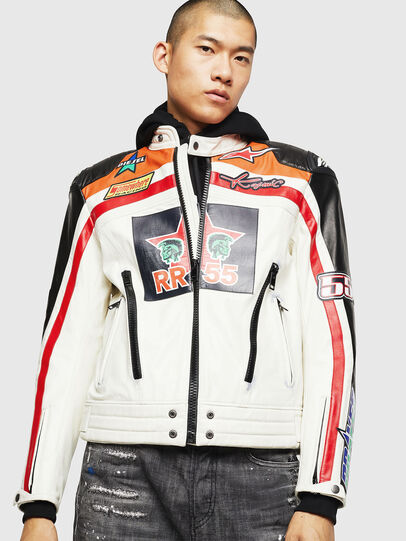 Diesel - ASTARS-LPATCH-1A, White - Leather jackets - Image 1