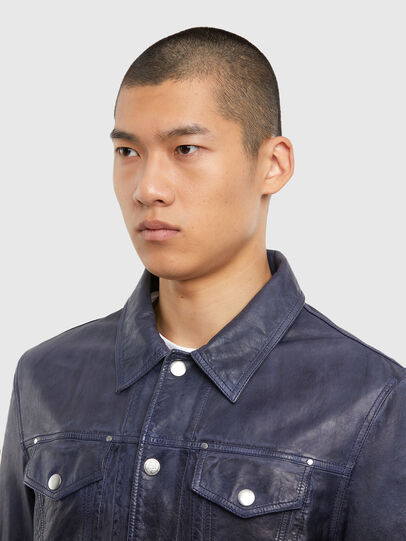 Diesel - L-NHILL-TRE, Dark Blue - Leather jackets - Image 3