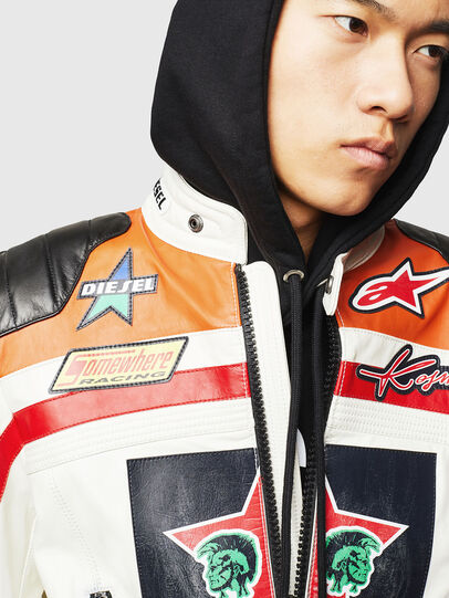 Diesel - ASTARS-LPATCH-1A, White - Leather jackets - Image 6
