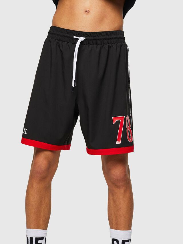 Diesel - BMBX-PLAYSOCC, Black/Red - Swim shorts - Image 1
