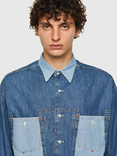 Diesel - DxD-SHIRT, Medium blue - Denim Shirts - Image 4