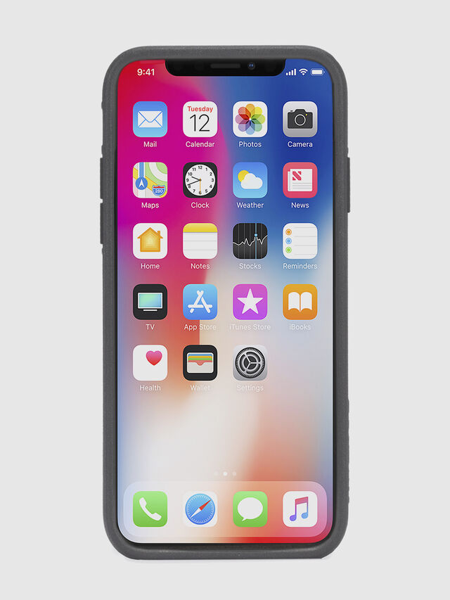 Diesel - BLACK LINED LEATHER IPHONE X CASE, Black Leather - Cases - Image 4