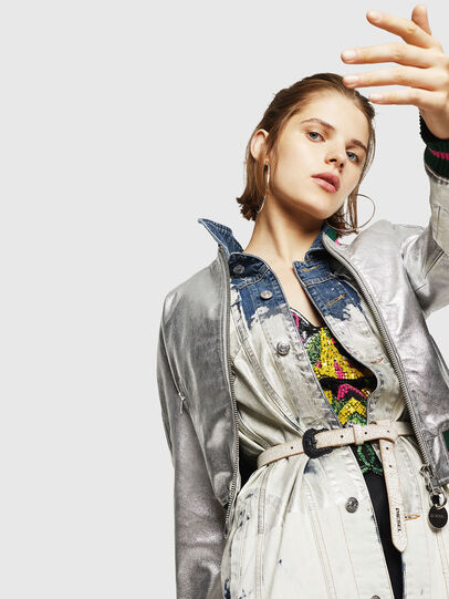 Diesel - L-NOTE, Silver - Leather jackets - Image 4