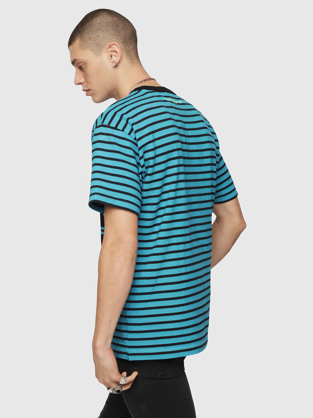 Diesel - T-WALLACE-STRIPE, Turquoise - T-Shirts - Image 2