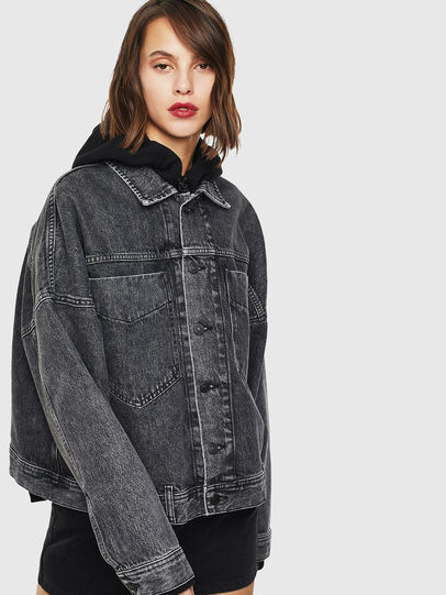 Diesel - DE-JALA, Black/Dark grey - Denim Jackets - Image 3