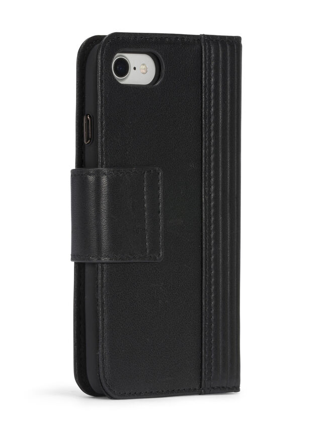 BLACK LINED LEATHER IPHONE 8 PLUS/7 PLUS FOLIO, Black