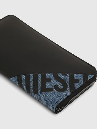 Diesel - 24 ZIP, Black/Blue - Zip-Round Wallets - Image 4