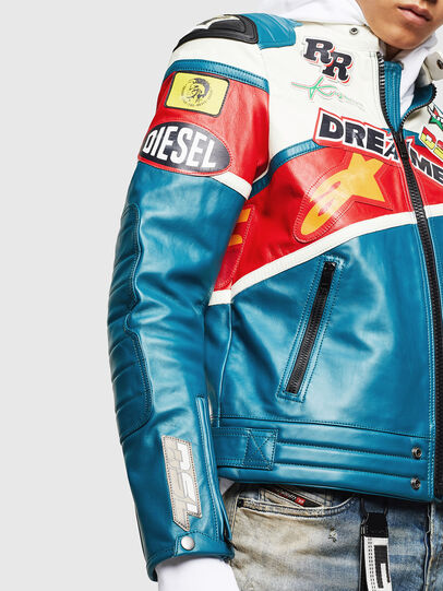 Diesel - ASTARS-LPATCH-1B, Blue - Leather jackets - Image 3