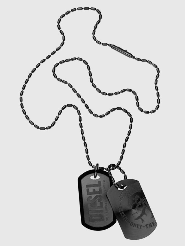Diesel - TWO STEEL SUNRAY DOG, Black - Necklaces - Image 1