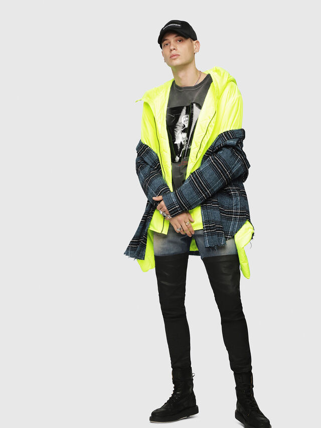 Diesel - W-SUN-REV-A, Yellow Fluo - Winter Jackets - Image 4