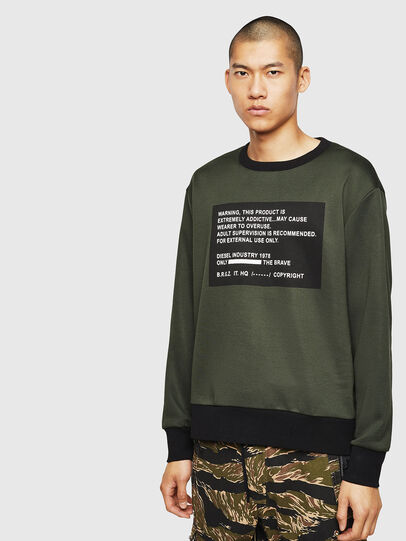 Diesel - S-BAY-MESH, Dark Green - Sweaters - Image 1