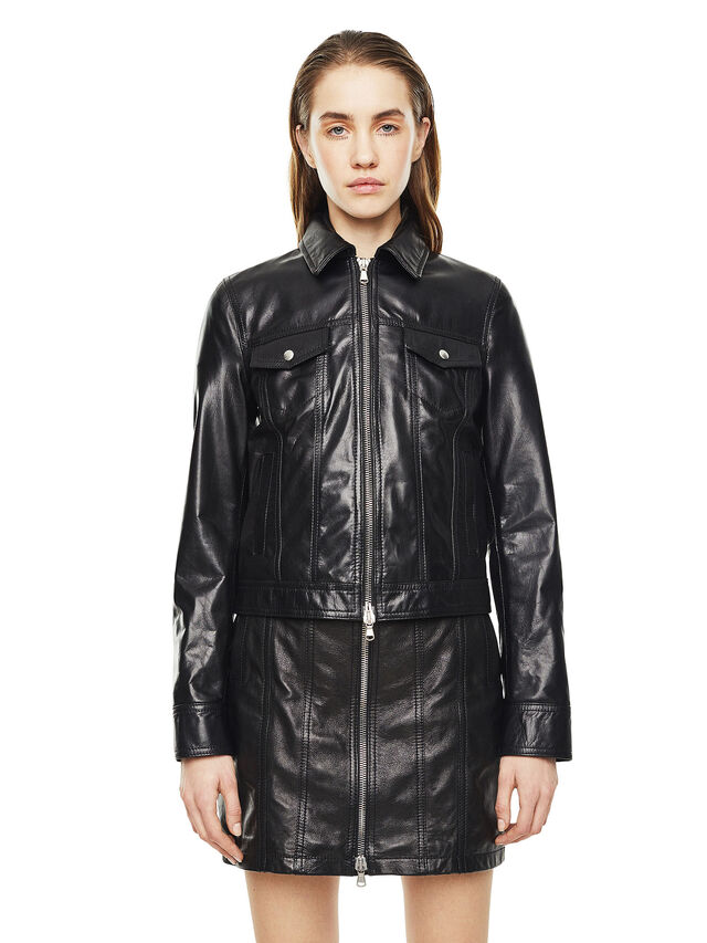 Diesel - LUCYLLE, Black Leather - Leather jackets - Image 1