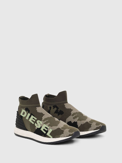 Diesel - SLIP ON 03 LOW SOCK, Green Camouflage - Footwear - Image 2