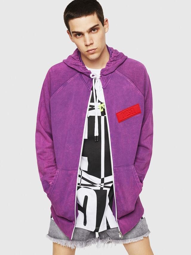 Diesel - S-GIM-HOOD-ZIP, Violet - Sweaters - Image 1