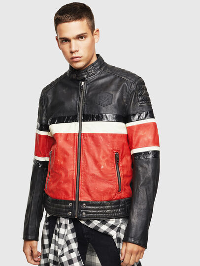 Diesel - L-ROURKE, Black/Red - Leather jackets - Image 1