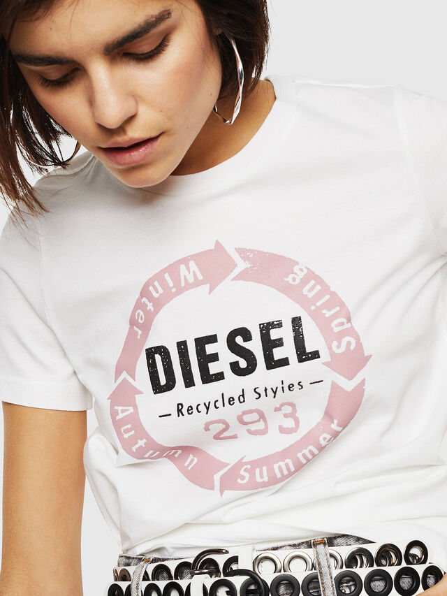Diesel - T-SILY-C1, White - T-Shirts - Image 3