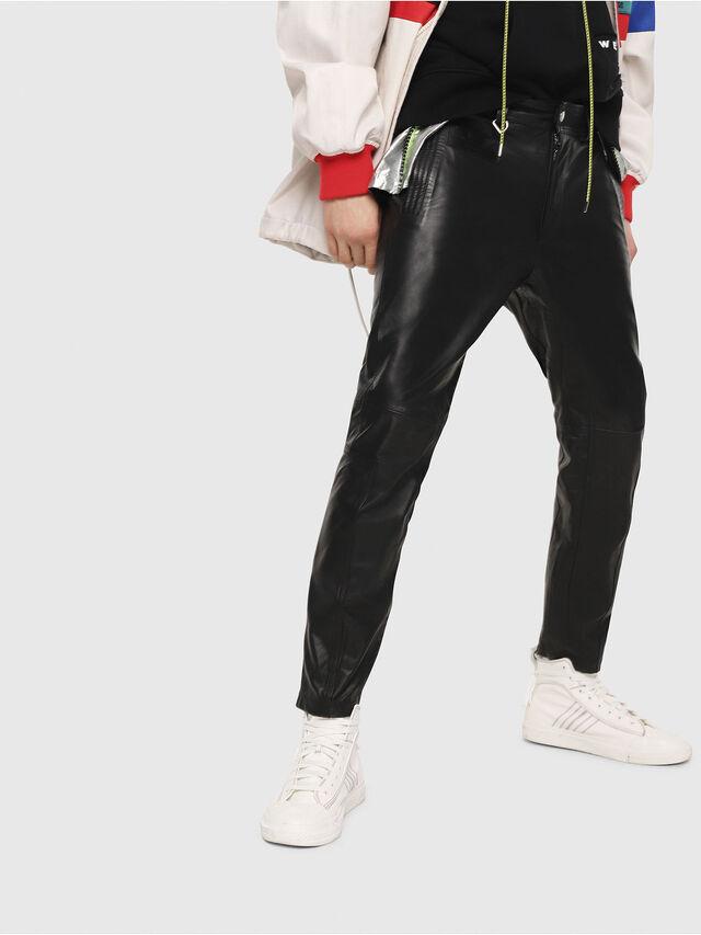 Diesel - P-ARDON, Black Leather - Pants - Image 1