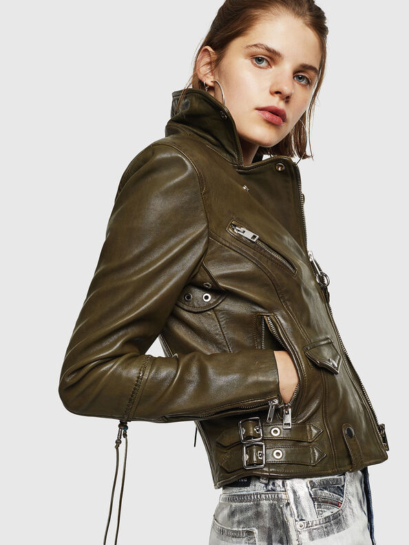 L-SINYA-A, Military Green - Leather jackets