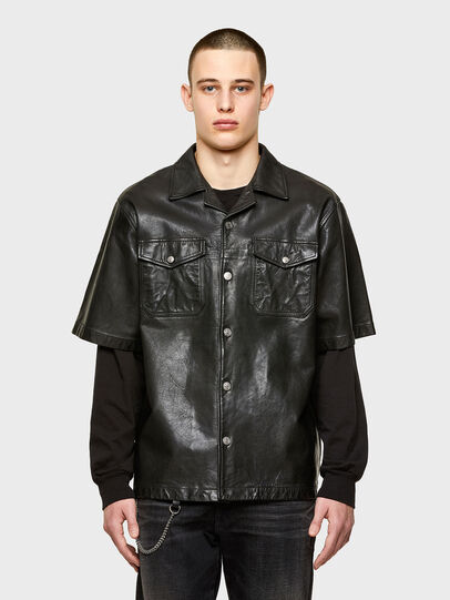 Diesel - S-WOLF-L, Black - Leather jackets - Image 1