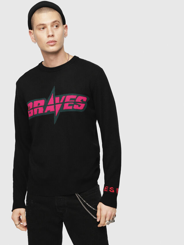 Diesel - K-COOL, Black/Pink - Knitwear - Image 1