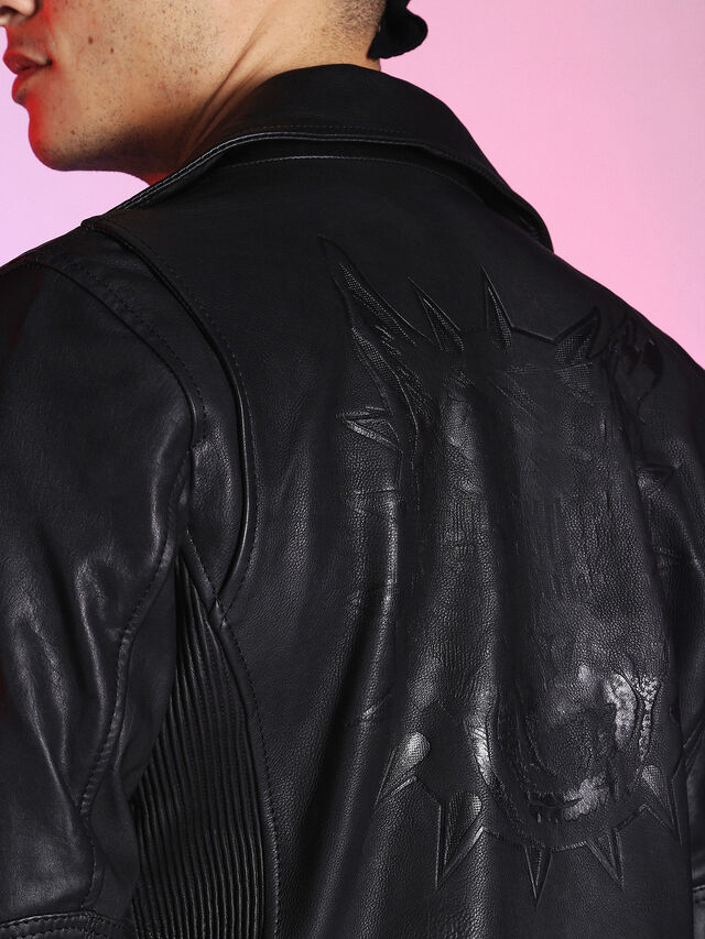 Diesel - LU-L-KRAMPS, Black - Leather jackets - Image 8