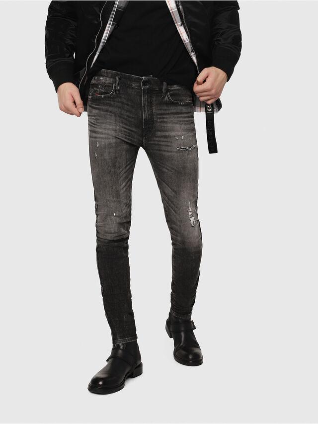 Diesel - D-Reeft JoggJeans 0077S, Black/Dark grey - Jeans - Image 1