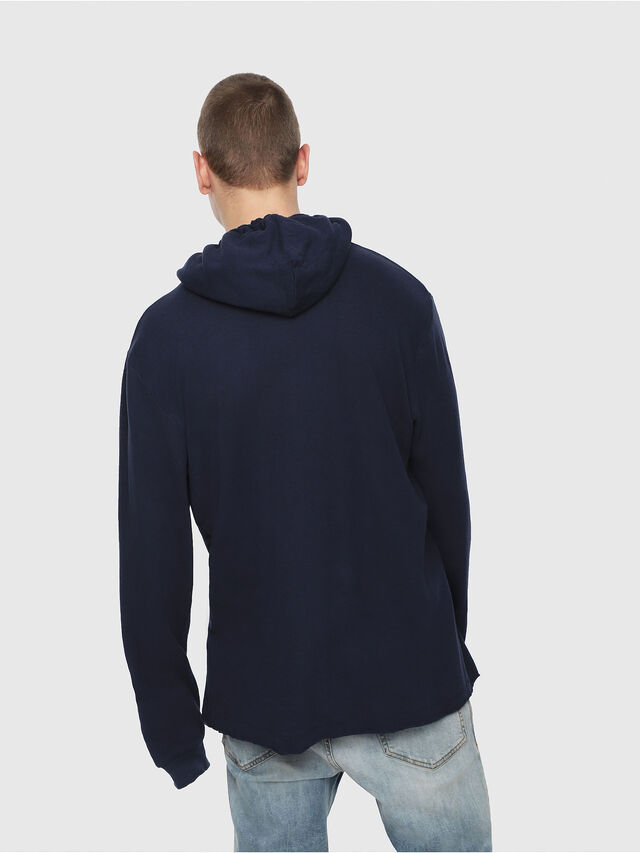 Diesel - T-JUST-LS-HOOD-ROW, Dark Blue - T-Shirts - Image 2