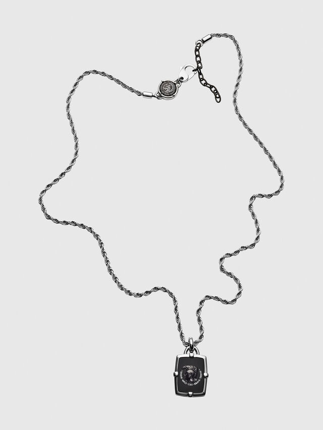 Diesel - DX1174, Silver/Black - Necklaces - Image 1