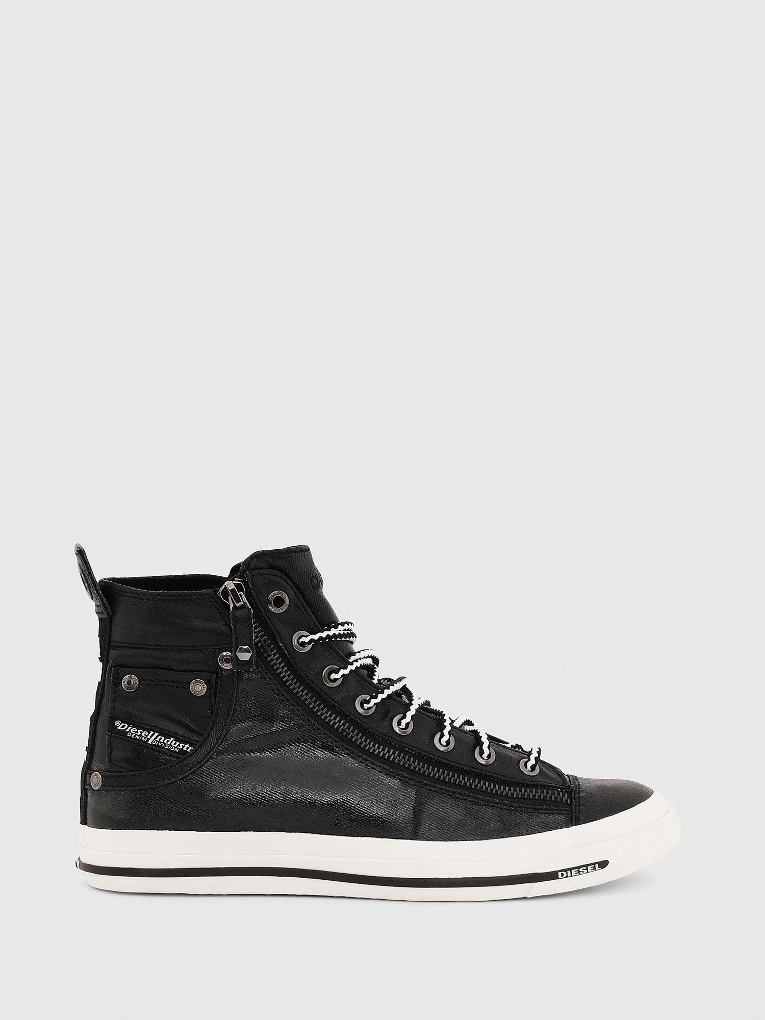 zip sneakers in coated denim | Diesel