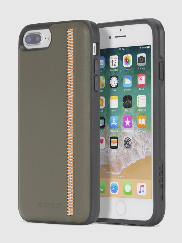 Diesel ZIP OLIVE LEATHER IPHONE 8/7/6s/6 CASE, Olive Green - Cases - Image 1