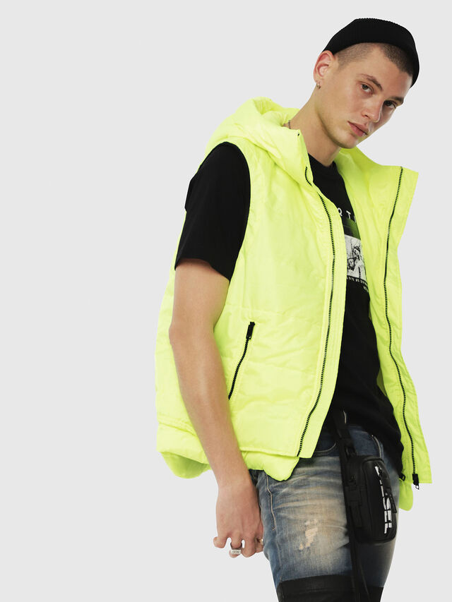 Diesel - W-SUN-REV-SLESS, Yellow Fluo - Winter Jackets - Image 3