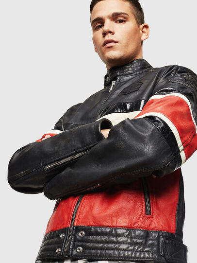 Diesel - L-ROURKE, Black/Red - Leather jackets - Image 4