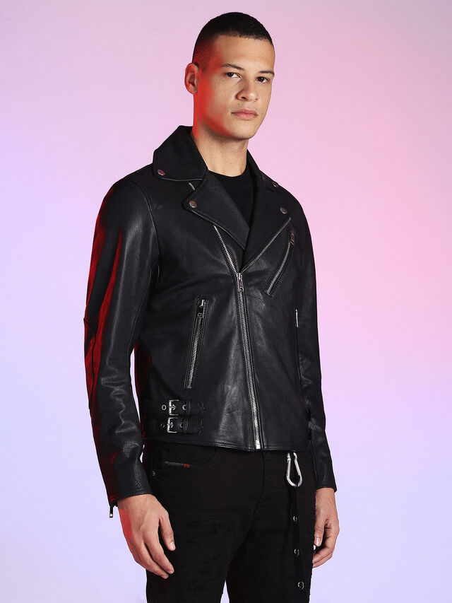 Diesel - LU-L-KRAMPS, Black - Leather jackets - Image 6