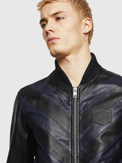 Diesel - L-OLEG, Black/Blue - Leather jackets - Image 3