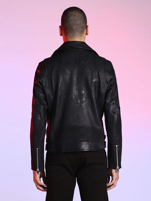 Diesel - LU-L-KRAMPS, Black - Leather jackets - Image 7