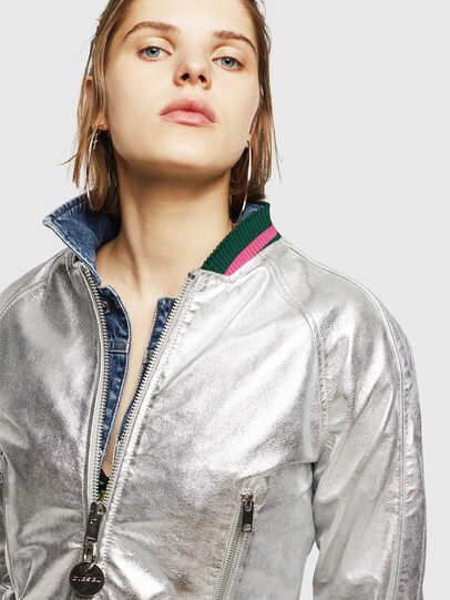 Diesel - L-NOTE, Silver - Leather jackets - Image 3