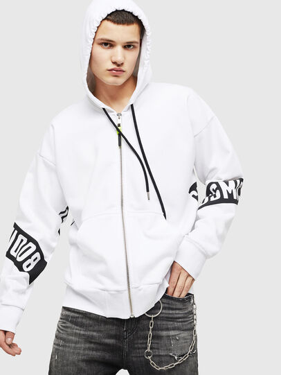 Diesel - S-ALBY-ZIP-A1, White/Black - Sweaters - Image 1