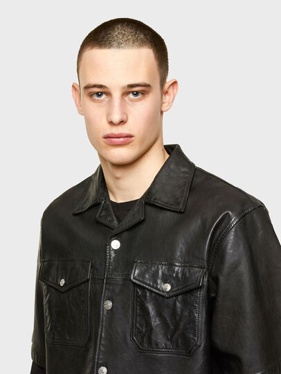Diesel - S-WOLF-L, Black - Leather jackets - Image 3