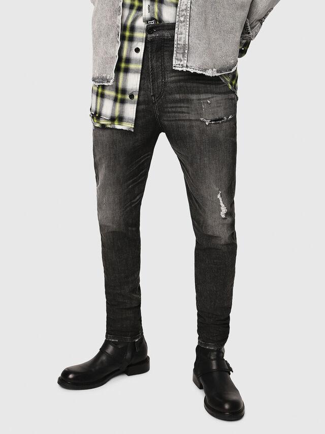 Diesel - D-Vider JoggJeans 0077S, Black/Dark grey - Jeans - Image 1