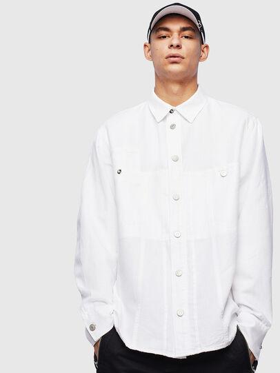 Diesel - D-FLOX, White - Denim Shirts - Image 1