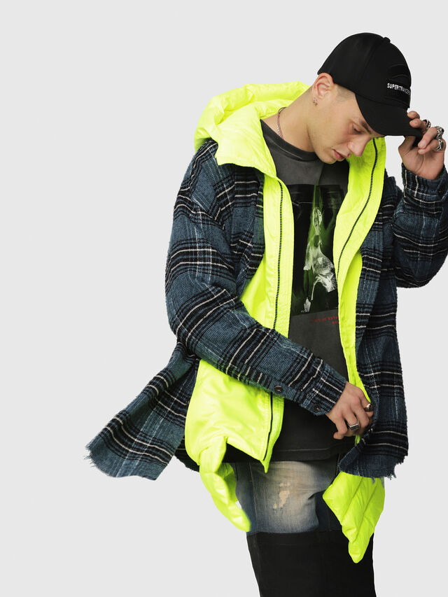 Diesel - W-SUN-REV-A, Yellow Fluo - Winter Jackets - Image 3
