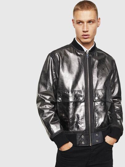 Diesel - L-STEWARD-FOIL, Black - Leather jackets - Image 1