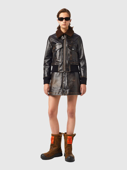 Diesel - L-TRACY, Black - Leather jackets - Image 6