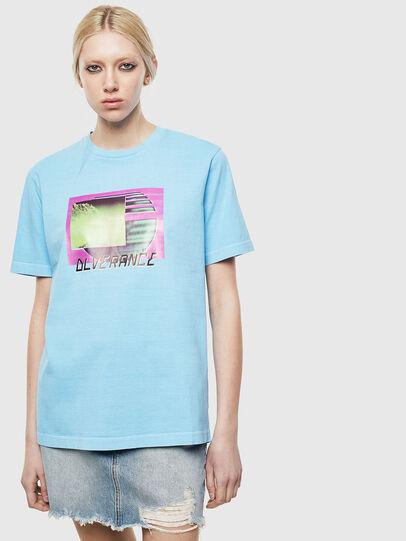 Diesel - T-JUST-NEON-S1, Azure - T-Shirts - Image 2