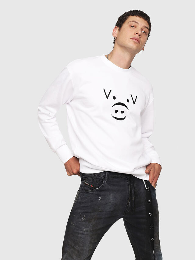 Diesel - CL-SNOR, White - Sweaters - Image 1