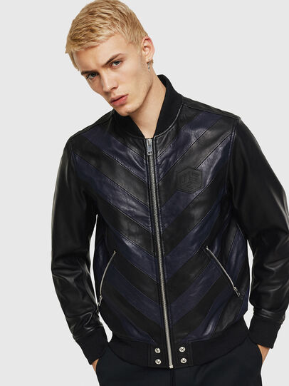 Diesel - L-OLEG, Black/Blue - Leather jackets - Image 1