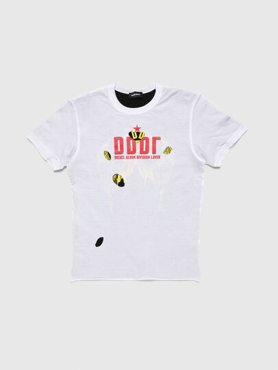 Diesel - TJUSTLAY, White/Black - T-shirts and Tops - Image 1