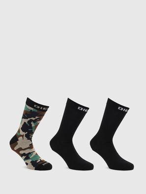 SKM-HERMINE-THREEPAC, Black/Green - Socks